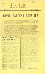Article from Suffolk University Law School's student newspaper, Dicta, announcing the appointment of David J. Sargent as law school dean