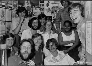 Members of Suffolk University's Radio Station (WSFR), 1977