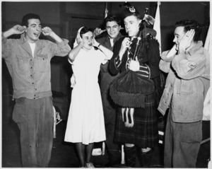 Actors onstage for a Suffolk University Drama Club production, circa 1950s