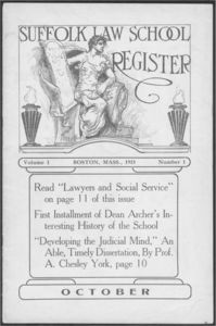Cover of the first issue of Suffolk University's Law School Register, a student magazine