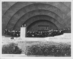 1962 Suffolk University commencement ceremony at the Boston Hatchshell