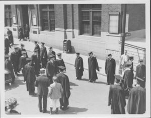 Liberal Arts procession at Suffolk University's first Baccalaureate exercises, 6/13/1937