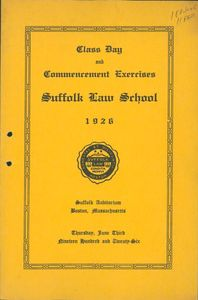 1926 Suffolk University Law School commencement program (cover)