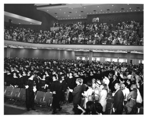 View of audience (from the stage) at the 1970 Suffolk University commencement