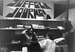 Students hanging out in the Suffolk Journal office, 1978
