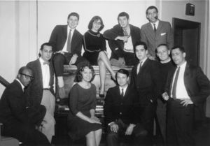 Members of Suffolk University's Jazz Society, including Israel Horovitz (seated on piano with cigarette), 1961
