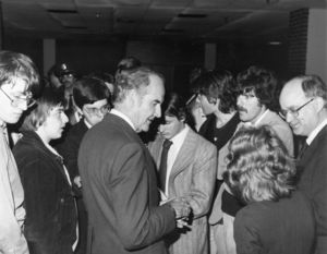 US Senator George McGovern talking to small group of people at Suffolk University