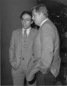 Suffolk University President Daniel H. Perlman and Dean David J. Sargent (Law) talking at a Law Review event