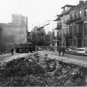 View of the building lot being cleared for Suffolk University's Donahue Building (41 Temple Street)