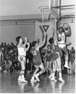 Suffolk University men's basketball team plays a game against Merrimack College at the Cambridge YMCA, 1978
