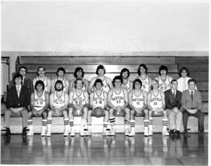 Suffolk University men's basketball team, Chris Tsiotos (#33) is front row, fifth from right, 1975