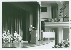 B.F. Skinner speaks at a Suffolk University event