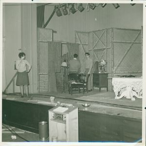 "Actors reading lines on stage during a rehearsal of ""Three Angels"" at Suffolk University's C. Walsh Theatre (55 Temple Street)"