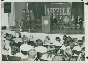 Awards being presented to Suffolk University students at the 1973 Recognition Day ceremony