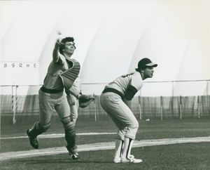 Suffolk University men's baseball catcher Mike Romano and pitcher Mike Grassia, in game at MIT, 1979