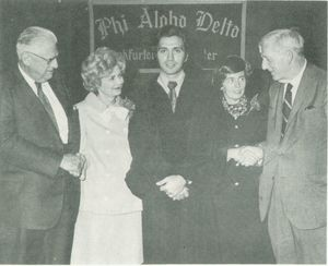 Attendees at induction ceremony for Suffolk University's Phi Alpha Delta chapter circa 1965