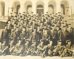 1920 Suffolk University Law School class on the steps of a building