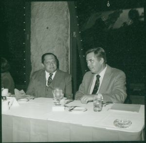 Suffolk University Law Dean David J. Sargent seated with Professor Alexander J. Cella at a Law Review event