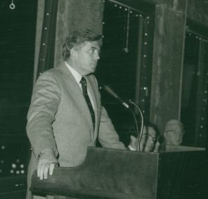 Suffolk University Law Dean David J. Sargent speaking at a Law Review event