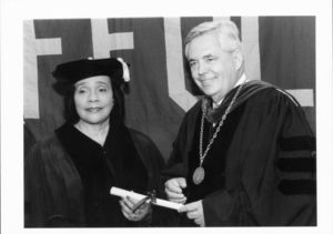 President David J. Sargent with Coretta Scott King at the 1997 Suffolk University commencement