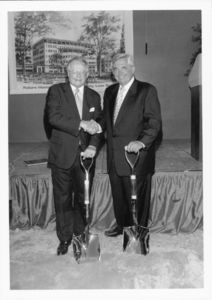 President David J. Sargent (1989-2010) and Dean John E. Fenton, Jr. (Law), with shovels at the Suffolk Univerity Law School groundbreaking ceremony (120 Tremont Street)