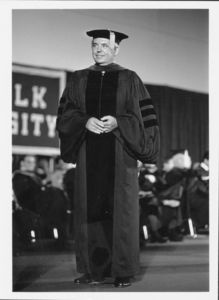 President David J. Sargent (1989-2010), in academic regalia at a Suffolk University commencement