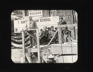 Trustee George Frost at podium at the laying of the cornerstone ceremony for Suffolk University's Archer Building (20 Derne Street)
