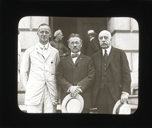 Trustee George Frost, J. Swift and Gleason L. Archer at the laying of the cornerstone ceremony for Suffolk University's Archer Building (20 Derne Street)