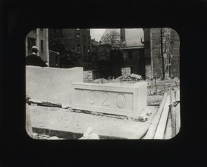 View of the cornerstone during the construction of Suffolk University's Archer Building (20 Derne)