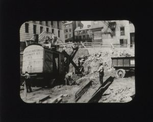 Excavation of the site during construction of Suffolk University's Archer Building (20 Derne)