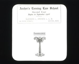 1906 advertisement about Archer's Evening Law School which later became Suffolk University Law School
