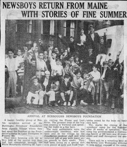 """News article about the Burroughs Newsboys Foundation summer camp program, reads """"Newsboys Return From Maine with Stories of Fine Summer"""""""