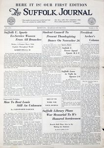 Front page of the Suffolk Journal (Vol. 4, No. 1), the first edition published post-World War II