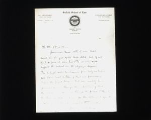Letter from Suffolk University Law School Dean Gleason L. Archer to the law students, 1912