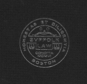 Suffolk University Law School logo from the cover of the 1982 catalog