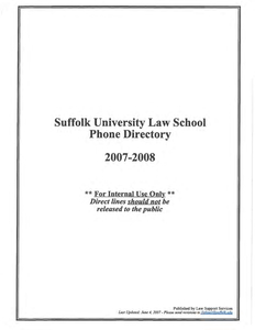 2007-2008 Suffolk University Law School Telephone Directory