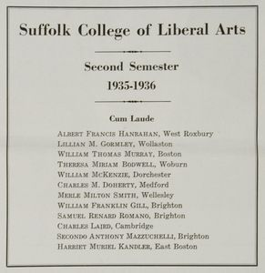 Suffolk University College of Liberal Arts (CLAS) list of cum laude students