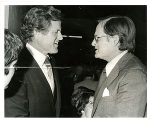 Suffolk University Dean John E. Fenton, Jr. (Law) with US Senator Edward M. Kennedy at a campus event