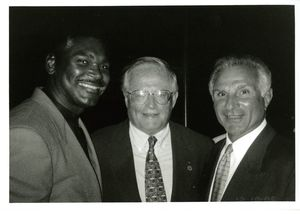 Suffolk University Dean John E. Fenton, Jr. (Law) with Ed Jenkins and Nick Buoniconti at a campus event