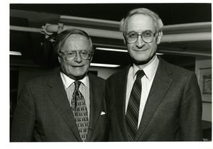 Suffolk University Dean John E. Fenton, Jr. (Law) with Justice Charles Fried at a campus event