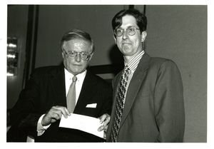 Suffolk University Dean John E. Fenton, Jr. (Law) with Michael K. Terry at a campus event