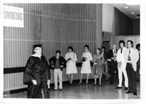 """Suffolk University Trustee Frank J. """"Daisy"""" Donahue at a Recognition Day ceremony, circa 1970s"""