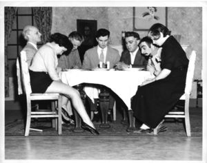 Actors onstage for a Suffolk University Drama Club production, 1953
