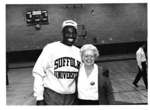 Derek Smith and Patricia I. Brown at the opening of Suffolk University's Ridgeway Gym (148 Cambridge Street)
