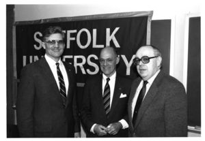 Members of Suffolk University's faculty, Harold Reynolds, Glen Eskedal and Michael R. Ronayne, at a campus event