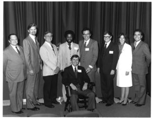 Faculty and staff at Suffolk University's Deans' Reception Service Awards, 19 September 1981