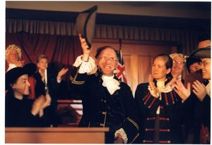 Professor Joseph McEttrick (Law) and other participants Suffolk University Law School's Boston Massacre Trial Re-enactment