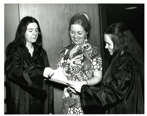 Professor Judith Dushku (CAS) with two female students at Suffolk University's Gold Key Induction ceremony, 1972
