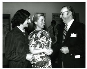 Professor Judith Dushku (CAS), her husband and President Thomas A. Fulham (1970-1980) at Suffolk University's Gold Key Induction ceremony, 1972