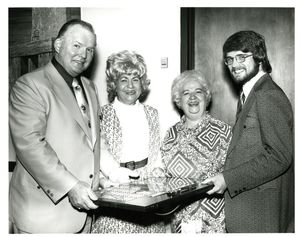 "Evelyn Reilly (left) and Dorothy ""Dottie Mac"" McNamara (right) at Suffolk University's Gold Key Induction ceremony, 1972"